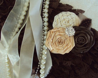 THE LONDON--Satin Rolled Flower Headband--Brown, Gold, and Cream
