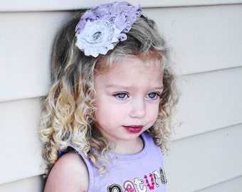 THE ALLIE--Gray and Lilac/Lavender Feather Headband