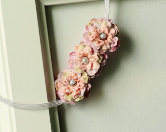 THE MOLLY--Trio of Tiny Pink Flowers Headband--Perfect Newborn Prop