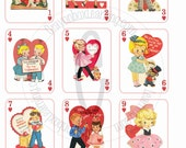 Vintage Valentine Flashcards - Playing Cards - INSTANT DOWNLOAD