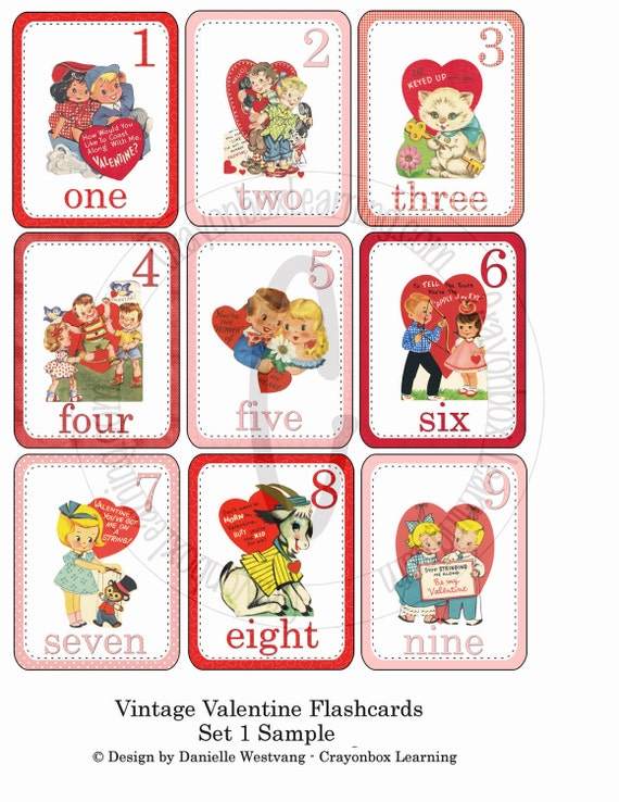 vintage valentine flashcards printable cards