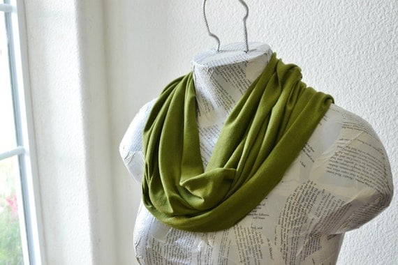 Moss Green Infinity Scarf from Jersey Knit