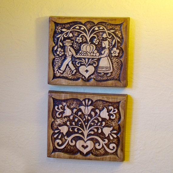 Vintage Ceramic Treasure Craft Wall Hanging Tiles 1962