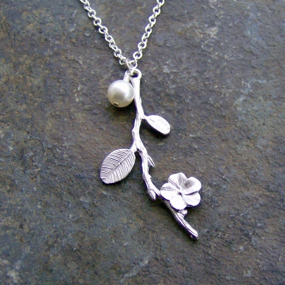 Last One - SALE - Going Out of Business - Silver Flower Branch with Pearl Necklace