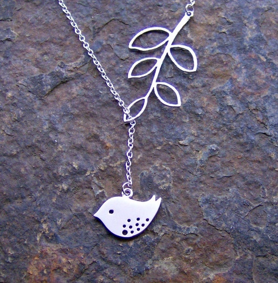Silver Bird and Branch Lariat Necklace