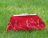 Clutch Purse Red with White Branches with Zipper Pocket