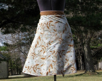 Wrap Skirt Reversible Neutral Floral with Tan