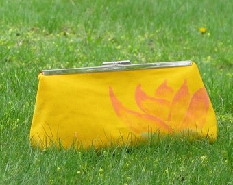 Clutch PurseYellow with Pink Lotus