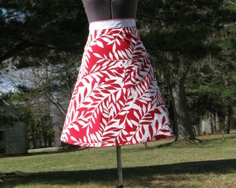 Wrap Skirt Reversible Red Leaves with White