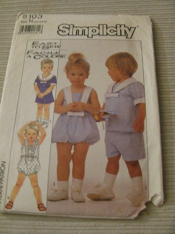 Simplicity 9181 Vintage 1980s Toddler Romper