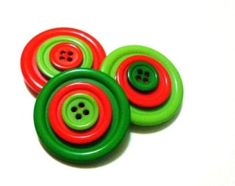 Button Magnets - Three Tiered Christmas Red Green Giants for Refrigerator, Locker, Memo Board, Filing Cabinet - Stocking Stuffer - Bold