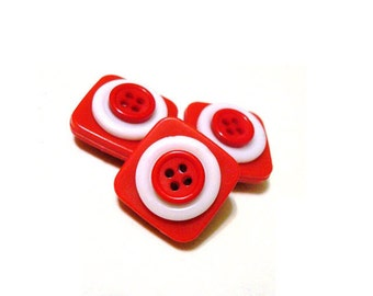Button Magnets - Six Red White Peppermint Candy for Refrigerator, Memo Board, Filing Cabinet - Be Mine Valentine