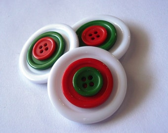 Button Magnets - Three Tiered Christmas White Red Green Giants - Refrigerator, Locker, Memo Board, Filing Cabinet - Stocking Stuffer - Bold