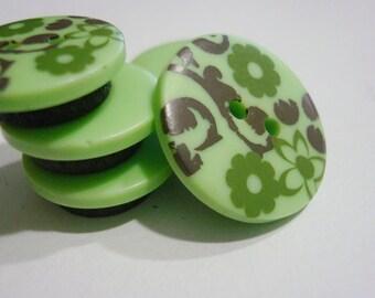 Button Magnets - Mint Seafoam Pistachio Green Swirl - Refrigerator, Locker, Memo Board - April Showers, May Flowers - Pastel - Mother's Day