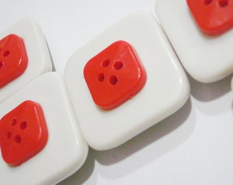 Button Magnets - White and Red Squares for Refrigerator, Locker, Memo Board, Filing Cabinet - Be Mine Valentine - Bold