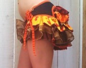Sakura Volcano wrap ruffle bustle skirt--Metallic Gold/Orange/Persimmon/Wine/Black/Chocolate/Garnet RESERVED for Kelsey Simpkins