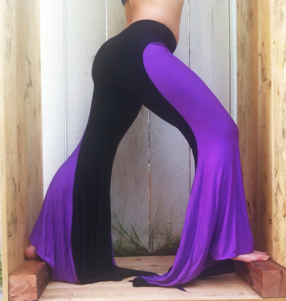 Custom listing for wyterrapin, size small Mermaid yoga pants colorblock Eggplant and Black Flare Dance Salsa festival Burning Man