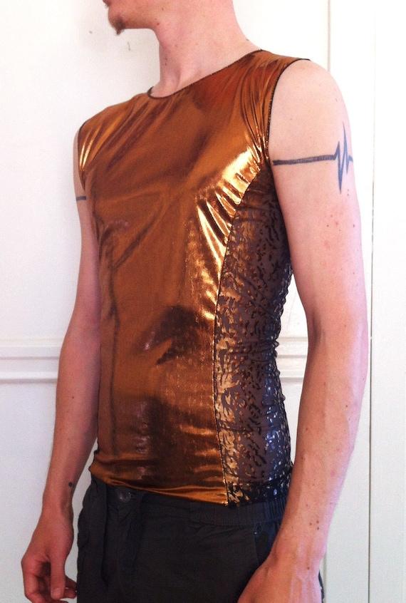 Mens Tank Shirt colorblock two-tone cyber Burning Man raver goth festival dance lightweight sleeveless tank copper metallic leopard