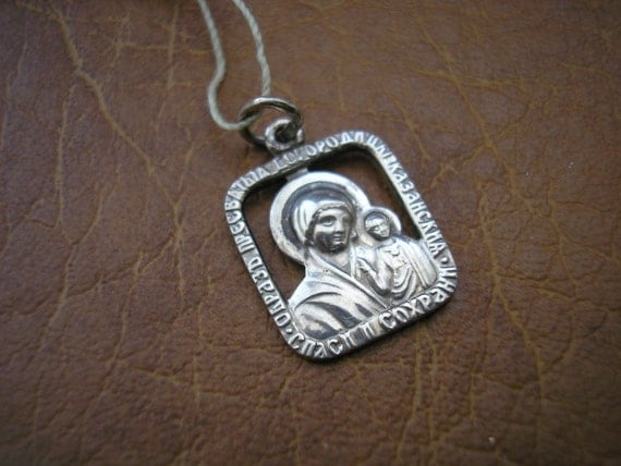 Russian sterling silver religions pendant Maria