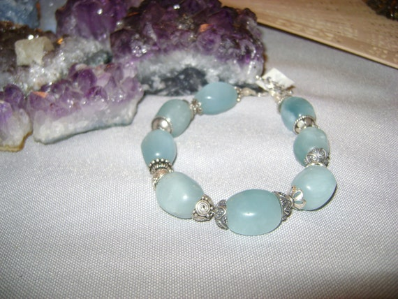 Ice Goddess Bracelet, Stunning Peruvian Opal with Sterling Silver Bead Caps, Handmade in Wisconsin