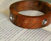 Wood Rhinestone Vintage Bracelet,  Bangle, Bracelet, Diamond Rhinestone, Wood Bracelet, Vintage Bracelet