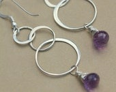 Amethyst Earrings Silver Hoops, Amethyst Earrings, Gift For Her Christmas, Silver Purple Earrings, Black Tie Chandelier Earrings Silver