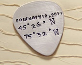 Personalized Guitar Pick- Guitar Pick- Latitude Longitude Guitar- Men's Gifts-Anniversary Gift - Silver Guitar Picks - For Him Her