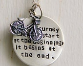 Retirement Gift, Journey Necklace, Bicycle, Graduation, The Journey Begins, Silver Quote Necklace, Bike Accessories