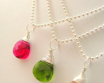 Custom Sterling Silver Fuchsia Pink Green Swarovki Crystal Hand Wired Bridal Gift Necklaces on Sterling Silver Chain From Italy