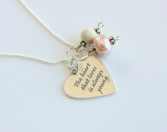 Gift For the Bride, Bridal Gift, Bridesmaids, Graduation Gift For Loved Ones, Pink Pearl Heart Quote Necklace, Inspiration, Love, Romance