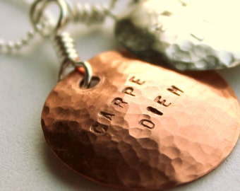 Personalized Graduation Jewelry, Graduation 2012, Stamped Graduation Gift, Copper, Silver, Quote Graduation, Inspirational Quotes