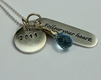 Customized Graduation Gift Necklace for Her, Personalized Graduation, Inspirational Quotes Jewelry, Sterling Silver Blue Topaz Necklace