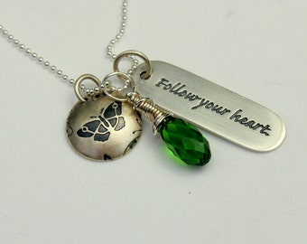 Personalized, Inspirational Quotes Pendants Graduation, Christmas Gift For Her, Follow Your Heart Necklace, Silver Butterfly Necklace,