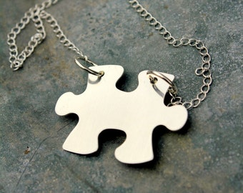 Autism Awareness   Puzzle Piece Necklace   Adoption   Personalized Puzzle Necklace   Silver Puzzle   Quote Pendant   My Puzzle Piece
