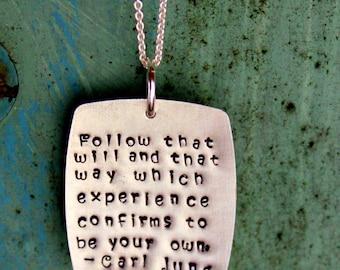 Square Personalized Motivational Quote Necklace Silver  -  Friendship,Valentine, Carl Jung Quote, Dream Future Graduation