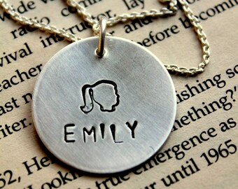 Children Silhouette Necklace - Silhouette - Mother -Valentines Gift For Her - Silver Initial Charm Necklace - Boy Necklace - Cameo Necklace