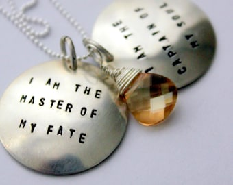 I am the Master Of My Fate Necklace, Gift Graduation Jewelry, Word Pendant Personalized Quote Necklace, Topaz Necklace