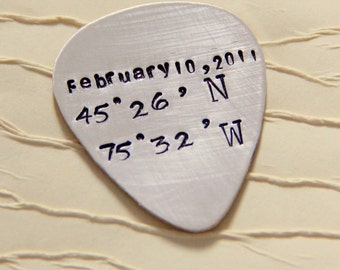 Latitude Guitar Pick - Personalized Guitar Pick- Guitar Pick- Latitude Longitude Guitar- Men's Gifts-Anniversary Gift - Silver Guitar Picks