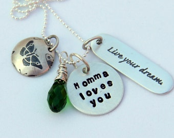 Sterling Mommy Loves You Necklace, Graduation Birthday Necklace From Mother, Live Your Dream, Emerald Pendant, Butterfly, Spring