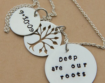 Family Tree  Necklace with Personalized Wedding Day Our Roots, Tree of Life, Anniversary Necklace, Tree, Gift For