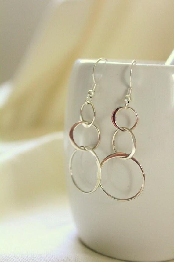 Sterling Silver Large Hoop Chandelier Earrings, Sterling Silver Earrings,  Large Hoops Earrings, Three Tiered Earrings White Lilie Designs