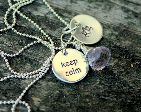 Yoga Necklace, Keep Calm and Carry On, Christmas Gift For Her, Namaste, Custom Silver Inspiration Jewelry, Lotus Charm, Lotus, Yoga