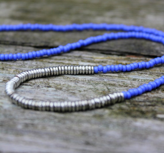 Beaded Necklace, Seed Bead Necklace, Layering Necklaces, Seed Beads,  Bohemian Necklace, Beads, Silver Beaded Necklace, Blue Beaded Necklace