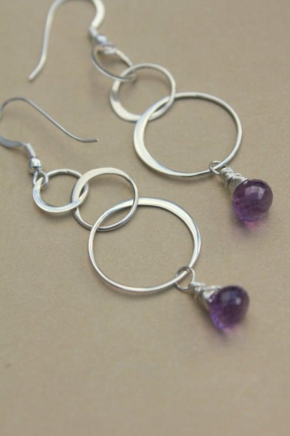 Amethyst Earrings Silver Hoops, Amethyst Earrings, Gift For Her Christmas, Silver Purple Earrings, Black Tie Chandelier Earrings Silver
