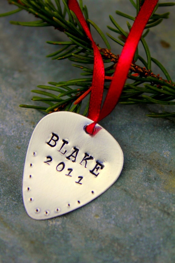 Holiday Decor Men Personalized Christmas Ornament, Christmas Ornament, Guitar Pick, Guitar Christmas Gift Brother Him, Boy Gifts