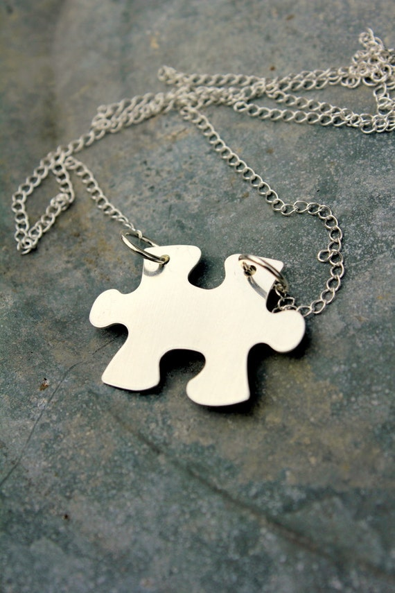 Autism Awareness | Puzzle Piece Necklace | Adoption | Personalized Puzzle Necklace | Silver Puzzle | Quote Pendant | My Puzzle Piece