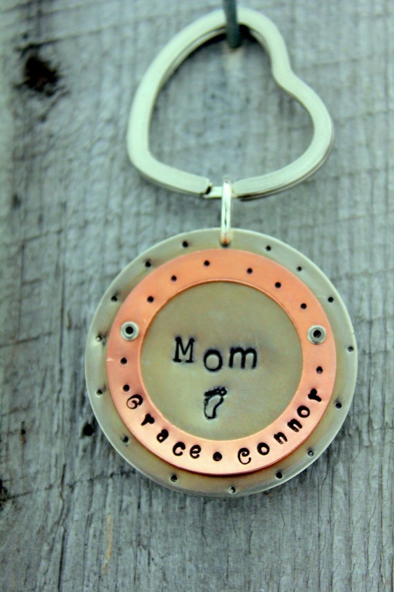 Valentine Personalized Key Chain Gift For Mom Grandmother Aunt Godmother, Heart Key Chain, Silver Key Chain For Women, Gift From Kids Names