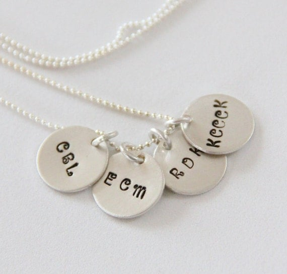 Initial Disc Necklace For Her, Initials For Necklace, Mothers Day Birthday Graduation, Wedding Date With Initials