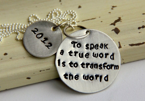 RESERVED TRANSFORM the WORLD Quote Necklace - Make a Difference Graduation School Spirit Gift, School Office Election Gift, Truth