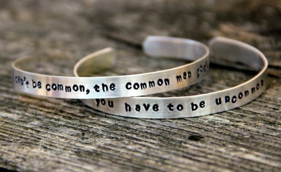 TWO Be Uncommon Inspirational Sterling Cuff, Daughter, Sterling Cuff, Custom Quote Cuff, Graduation Bracelet For Her, Two sterling Cuffs